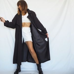 VINTAGE BLACK DOUBLE BREASTED DUSTER TRENCH COAT